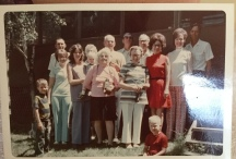 at the cabin: The Terry Sanderson Family, Tet, Grandpa, Wayne Jeff, Irma Elna, Jerry..FL Melitha, sister, Pearl, wife of Sandy